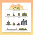 line art Paris France travel landmarks icon set vector image