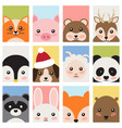 adorable baby animals faces cartoon vector image
