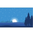 At night deer with moon Christmas landscape vector image