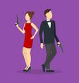 cartoon spy couple vector image