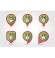 Rabbit mapping pins icons vector image