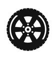Black wheel flat icon vector image