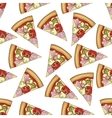 Seamless pattern color pizza with bacon vector image