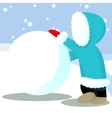 Child roll out snow ball vector image