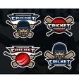 Cricket sports logos on a dark background vector image