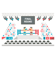 Flat design boxing stage fight vector image
