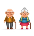 Happy Cute Old Man Lady Grandfather Granny 3d vector image