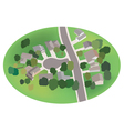 part of village - street with houses - airview vector image