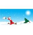 Santa hunting Christmas tree vector image