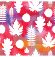 Seamless watercolor background with leaves vector image