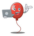 with laptop balloon character cartoon style vector image