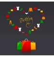 shopping bags and clothes heart vector image vector image