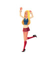 girl in 1990s style clothes dancing at retro disco vector image