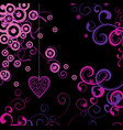 Pink floral and heart on black background vector image