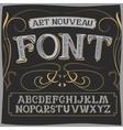 art nouveau label font on a dark backround vector image