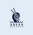 asian seafood logo vector image