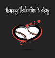 baseball ball shaped as a heart vector image