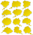 Set of paper yellow clouds vector image
