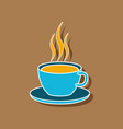 sweet dessert in paper sticker cup of coffee vector image