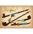 Set of 4 colored indian smoking pipe of peace vector image