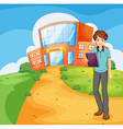 A boy holding a book standing outside the school vector image
