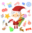 Retro style Christmas Card with Santa Claus vector image