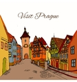 Old town postcard vector image