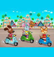 funny pets are riding scooters in the town vector image