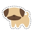 pug puppy cute animal cut line vector image