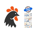 Rooster Head Icon With 2017 Year Bonus Pictograms vector image