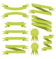 set of flat green ribbons vector image