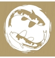 Two koi carps laser or plotter cut vector image