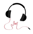 Black headphones with red cord in shape of hand vector image