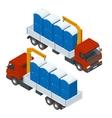 Delivery or shipping bio toilet cabins Blue bio vector image