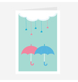 Cloud with hanging heart rain drops and two vector image