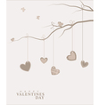 Hearts hanging on a tree branch vector image vector image