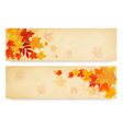 two abstract autumn banners with colorful autumn vector image vector image