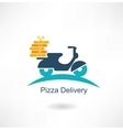 scooter carries pizza vector image vector image