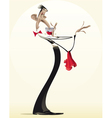 Funny waiter with red wine vector image
