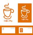 Orange coffee cup hand drawn logo vector image