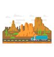 Flat design lonely road Arizona vector image