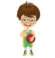 little boy holding basketball vector image