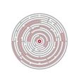 Circular labyrinth abstract logic puzzle path to vector image