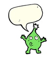 funny cartoon creature with speech bubble vector image