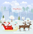 Invitation card with Santa Claus in a sleigh for vector image