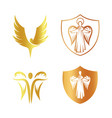 isolated golden color angel silhouette logo set vector image