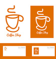 Orange coffee cup hand drawn logo vector image