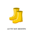 pair of yellow rubber rain boots symbol garden vector image