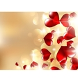 Realistic bokeh lights with hearts vector image