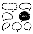 Set of hand drawn black marker bubbles vector image
